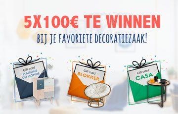 5 cadeaubonnen van 100 € te winnen bij Casa, Blokker of Maisons du Monde!