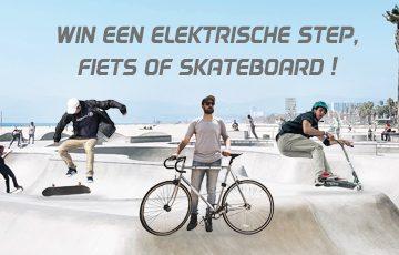 Win een elektrische step, fiets of skateboard